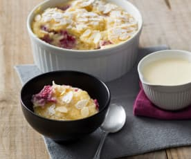 White chocolate and raspberry self-saucing pudding