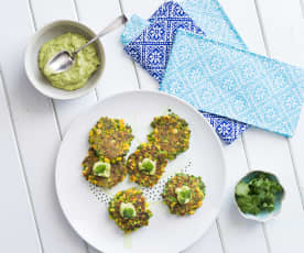 Corn and coriander fritters with avocado tahini