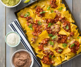 Nachos with beans and cashew sour cream