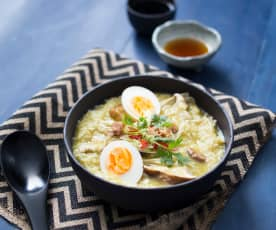 Mixed mushroom congee with pickled eggs