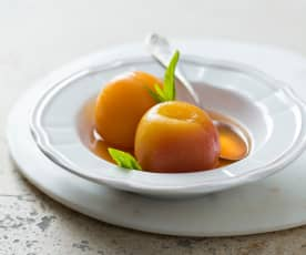 Peaches in white wine syrup