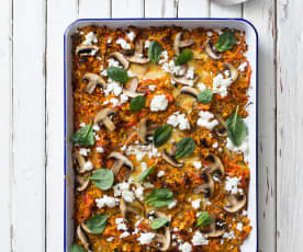 Vegetable bake with goat's feta