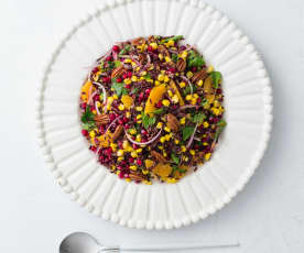 Sweet corn and black rice salad