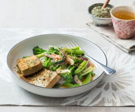 Honey ginger tofu with greens