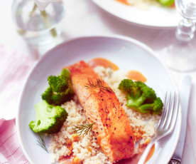 Salmon with Broccoli, Couscous and Honey Mustard Sauce