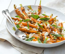 Carrot, feta and mint salad