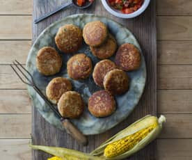 Ricotta patties with chilli lime corn