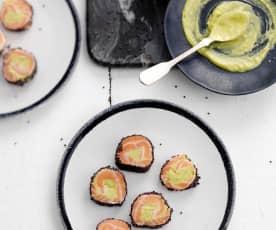 Rolo de salmão com abacate