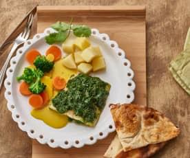 Indische vis met yoghurtsaus, aardappelen en groenten