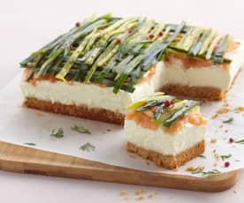 Cheesecake poireau et saumon fumé