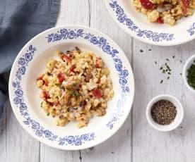 Blisotto aux moules et poivrons grillés