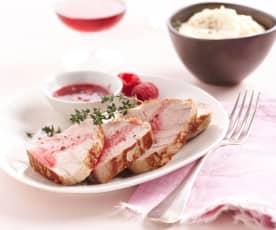 Filet mignon de veau à la framboise, mousseline de céleri rave.