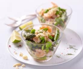 Salade d'asperge, crevettes et amandes