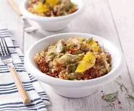Salade de quinoa aux maquereaux et à l'orange