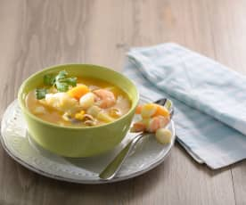 Zuppa di pesce con zucca e tofu