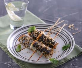 豆皮牛蒡卷佐蜜汁醬