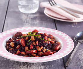 Chou rouge aux raisins secs et chorizo