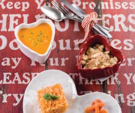 Creme de legumes, Filetes com arroz de tomate e abóbora e Crumble de maçã e pera