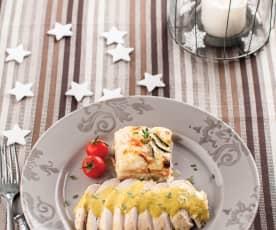 Peitos de frango com espumante e legumes gratinados