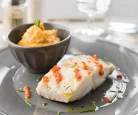 Bacalhau com puré de grão e batata doce