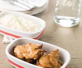 Frango satay com arroz jasmin
