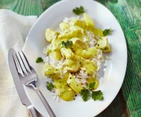 Spargel-Hähnchen-Curry zu Reis