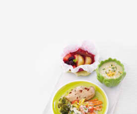 Creme de couve-flor, Frango com legumes e Fruta ao vapor
