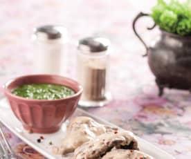 Bitki wołowe z sosem pieprzowym i szpinakiem