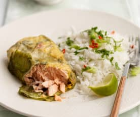Thajské lososové balíčky na páře