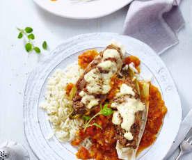Chicorée mit Hackfleisch, Reis und Tomatensauce