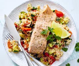 Lachs mit Gemüse-Couscous