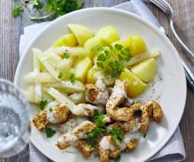 Krůtí nudličky s kedlubnou, bramborami a kerblíkovou omáčkou