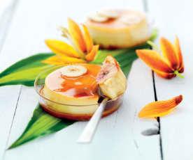 Crème caramel, noix de coco et banane