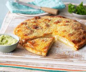 Pão recheado com queijo mozarela