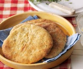 Pan plano de eneldo y queso feta