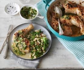Kip met kruidensalsa en een witte bonen sla met rucola pesto