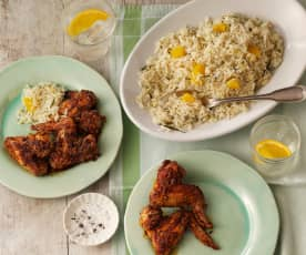 Mediterrane kippenvleugels met kruiden-sinaas rijst
