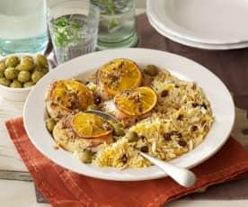 Gebraden kruiden-sinaas kip en basmati rijst met rozijnen