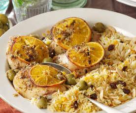 Orange Roasted Chicken Thighs with Basmati Rice
