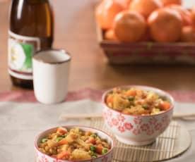 Riso al curry gamberi e verdure