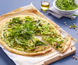 Pizza basilic, courgette et chèvre