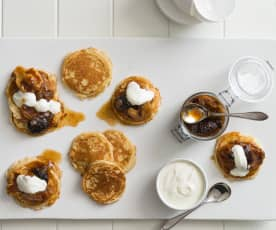 Ricotta pancakes with fruit compote and yoghurt