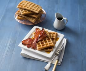 Waffles with maple bacon
