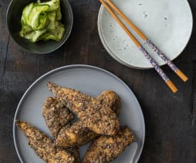 Crispy Japanese chicken with pickled cucumbers