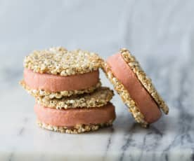 Watermelon and raspberry ice cream sandwiches