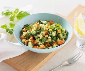 Contorno di zucchine e carote con formaggio