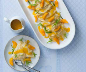 Coconut crêpes with apricot sauce