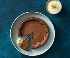 Chocolate cake with lime cream