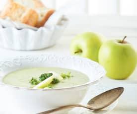 Crema de brócoli y manzana verde