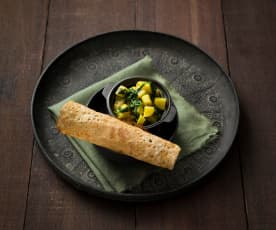 Dosa with spiced potato filling